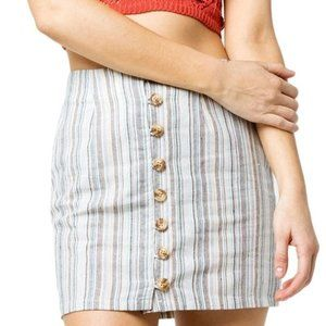 Sky and Sparrow Striped Button Front Mini Skirt